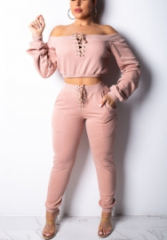 Women Sexy Lace Up Off Shoulder Crop Top and Skinny Long Pants 2 Piece Suit