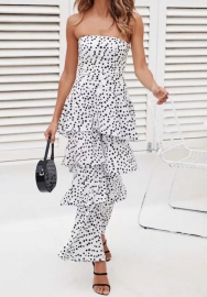 Women Fashion Print Dot Tube Tops And Ruffle Wide Leg 2 Piece Suit
