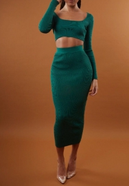 Women Fashion Robbit Long Sleeve Crop Tops and Minid Skirt 2 Piece Suit