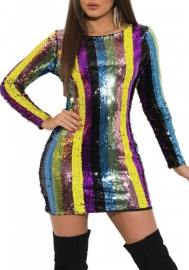 Women Sexy Sequins Colorful Long Sleeve Backless Mini Dress