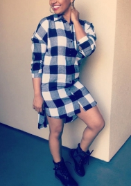 Women Fashion Plaid Front Button Long SLeeve Long Shirt Dress