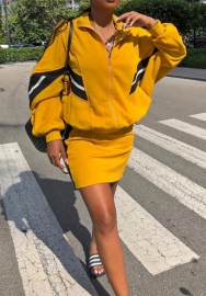 Women Fashion Front Zipper Long Sleve Loose Tops and Short Skirt 2 Piece Suit