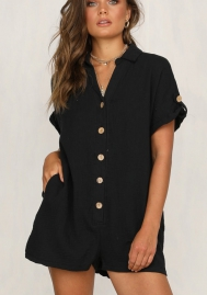 Women Fashion Solid Color Short Sleeve Front Button Romper Jumpsuit