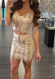Women Sexy Wave Sequins Strap Tops and Short Skirt 2 Piece Suit