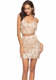 Women Fashion V Neck Sequins Crop Tops And Short Skirt 2 Piece Suit