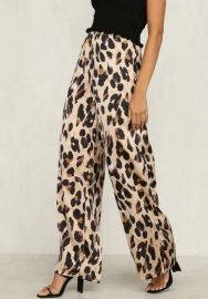 (Only Pants)Women Fashion Sexy Leopard Print Long Pants Elastic Waist Wide Leg Pants