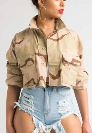 Women Fashion Camouflage Long Sleeve CropTops