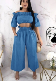 Womens Sexy Tie Crop Top Wide Leg Long Pants 2 Piece Outfits Summer Short Sleeve Jumpsuits Set