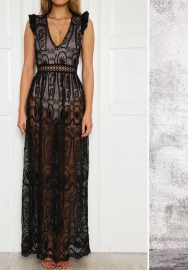 Women Sexy Lace See Through Maxi Dress(Black)