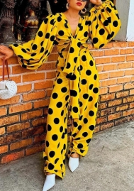 Women Polka Dot Print Long Sleeve Crop Top Zip Up Bodycon Pants 2pc Outfit Jumpsuit