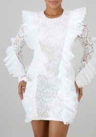 Women Sexy Floral Lace Dress Hollow Out Mesh See Through Ruffle Long Sleeve Club Midi Dresses