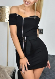 Women Sexy Front Zipper Bodycon Bandage Midi Evening Dress With Belt Tie