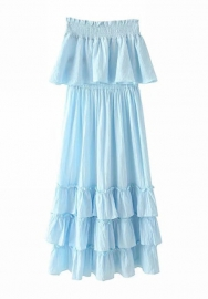 Women Fashion Off Shoulder Solid Color Ruffle Maxi Dress