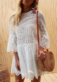(Pre Sale)Women Hollow Out Lace Trumpet Sleeve Bodycon Slim Sheath Mini Dress