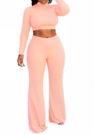 Women Fashion Solid Color Long Sleeve Crop Tops and Long Pants 2 Piece Suit
