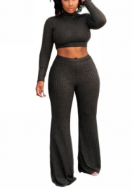 Women Fashion Solid Color Long Sleeve Crop Tops and Long Pants 2 Piece Suit (Black)