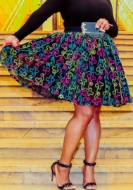 (Not Tops,Only Skirt)Women Fashion Print Colorful Skirt
