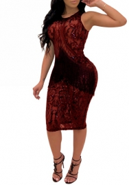 Women's Sexy Sequins Sheer Mesh See Through Patchwork Bodycon Mini Short Dress Clubwear