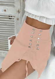 (Only Bottom)Women Fashion Lace Up Skirt