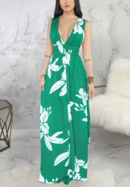 Women Fashion Floral Deep V Neck Maxi Dress