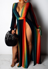 Women Fashion Colorful Long Sleeve V Neck High Split Maxi Dress