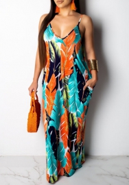 Women Fashion Print Strap Loose Classic Maxi Dress