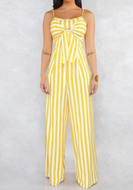 Women Fashion Strap Bow Tie Striped Jumpsuit