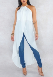 Women Fashion Chiffon Halter Cross Maxi Dress