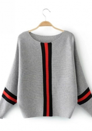 Women Fashion Striped Long Sleeve Loose Sweater Tops