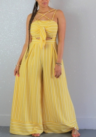 Woemn Sexy Cut Out Bandage Striped Loose Jumpsuit (Yellow)