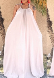 Women Fashion Solid Color Halter Backless Loose Maxi Dress