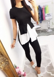Women Fashion Family Round Neck Short Sleeve Tops and Long Pants 2 Piece Suit