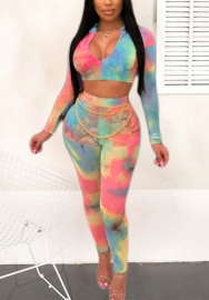 Women Fashion Print Multicolor Long Sleeve Front Zipper Crop Top And Long Pants 2 Piece Suit