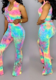 (Pre Sale)Women Fashion Multicolor Sleeveless Crop Tops And Long Pants 2 Piece