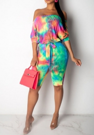 (Pre Sale)Women Fashion Multicolor Off Shoulder Loose Midi Romper Jumpsuit
