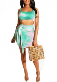 (Pre Sale)Women Fashion Multicolor Strap Crop Tops And Short Skirt with Waist Tie
