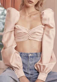 Women Fashion Silk Bra Flare Sleeve Tops