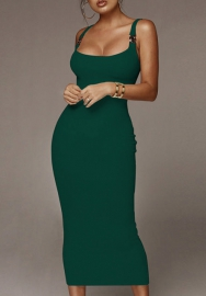 Women Fashion Solid Color Strap Cotton Classic Maxi Dress