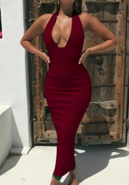 Women Fashion Halter Solid Color Maxi Dress