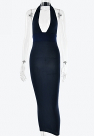 Women Fashion Halter Solid Color Maxi Dress (Navy Blue)