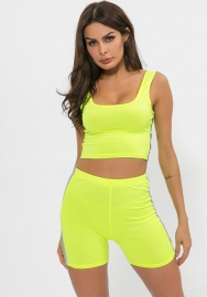 Women Fashion Strap High Elastic Crop Tops and Short Pants 2 Piece Suit