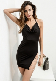 Women Fashion Halter  Side Necklace Mini Dress