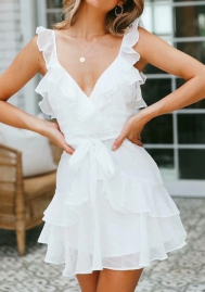 Women Fashion White Chiffon Ruffle Waist Tie Mini Dress