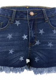 Women Fashion Jeans Print Star Ripped Side Short Pants