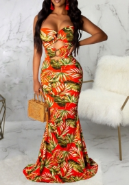 Women Sexy Print Floral Cut Out Tube Maxi Dress