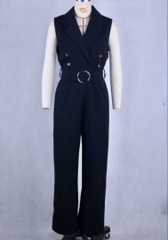 Women Fashion Double Button Solid Color OL Jumpsuit with Waist Tie (Black)