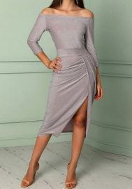 Women Fashion Off Shoulder Long Sleeve High Split Midi Dress