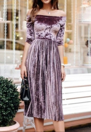 Women Sexy Off Shoulder Velvet Hem Midi Dress