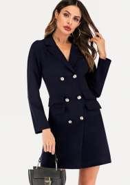 Women Fashion Front Double Button Long Sleeve OL Mini Dress (Solid Color)Navy Blue