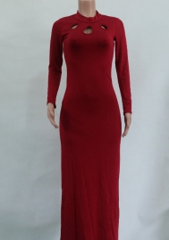 Women Fashion Hollow High Neck Long Sleeve Maxi Dress